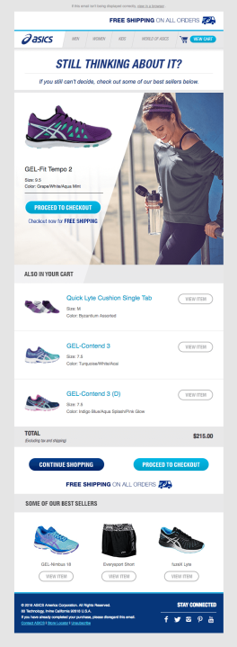 ecommerce email by Asics