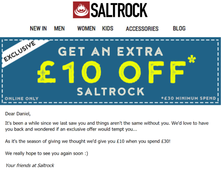 good ecommerce email from Salt Rock